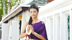 Thai woman dressing traditional. Stock Footage