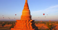 Stock Video Footage of Famous ruins of ancient temples in Bagan, Myanmar (Burma). Panoramic view