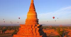 Famous ruins of ancient temples in Bagan, Myanmar (Burma). Panoramic view Stock Footage