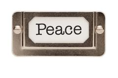 Peace File Drawer Label Isolated on a White Background. - stock photo