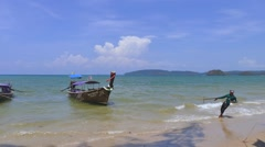 Boats on Ao Nang Beach, Thailand Stock Footage