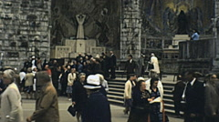 Lourdes 1977: pilgrims visiting the city Stock Footage