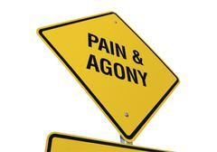 Yellow Pain and Agony Road Sign Isolated on White - stock photo