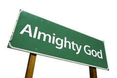 Almighty God Green Road Sign Isolated on a White Background with Clipping Pat - stock photo