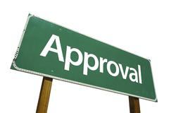 Approval Green Road Sign Isolated on a White Background with Clipping Path. - stock photo