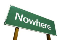 Nowhere Green Road Sign Isolated on a White Background with Clipping Path. - stock photo