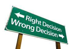 Right Decision, Wrong Decision Green Road Sign Stock Photos