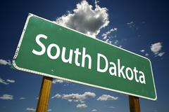 South Dakota Road Sign - stock photo