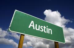 Austin Green Road Sign - stock photo