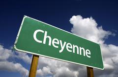 Cheyenne Green Road Sign Stock Photos