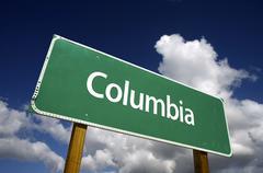 Columbia Green Road Sign Stock Photos