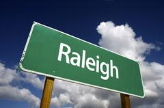 Raleigh Green Road Sign - stock photo