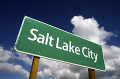 Salt Lake City Green Road Sign - stock photo