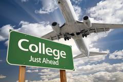 College Green Road Sign and Airplane Above with Dramatic Blue Sky and Clouds. Stock Photos