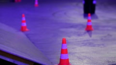 Traffic cones on a road Stock Footage