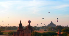 Ballons over Bagan, panorama of ancient site in Myanmar Stock Footage