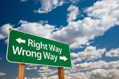 Right Way, Wrong Way Green Road Sign - stock photo