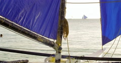 Sailing boat yacht details view. Boracay island beach in Philippines  - stock footage