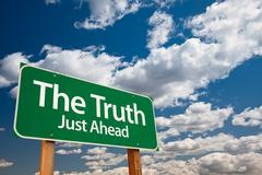 The Truth Green Road Sign Stock Photos