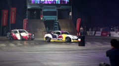 Two sport cars drift. Stock Footage