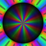 Colorful rgb rays of lights in circular pattern Stock Illustration