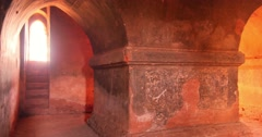 Architecture details inside in ruins of ancient Buddhist temple in Bagan - stock footage