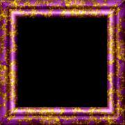 Purple metal or wooden ornamental frame with golden splash - stock illustration