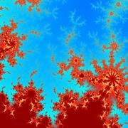 Abstract red fractal asymetric flame or discharge pattern Stock Illustration