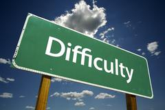 Difficulty Road Sign Stock Photos