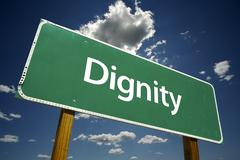 Dignity Road Sign - stock photo