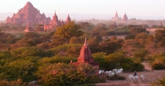 4K aerial panoramic view of ancient site in Bagan, Myanmar (Burma) Stock Footage