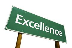 Excellence Road Sign Isolated on White with Clipping Path Stock Photos