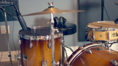 Acoustic Drum Set In Recording Studio Stock Footage