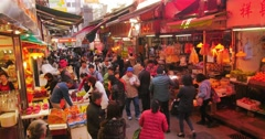 crowd of people in street market in Hongkong downtown. Sellers and buyers - stock footage