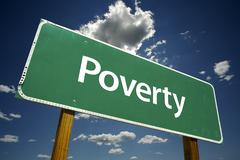 Stock Photo of Poverty Road Sign