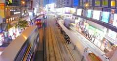 view of Hongkong transportation at night with crowds of people crossing street - stock footage
