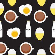 Scrambled Egg, Soft-Boiled Egg, Milk, Coffee Seamless Pattern Br - stock illustration