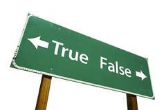 True, False Road Sign with Clipping Path Stock Photos