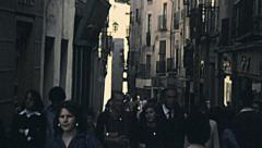 Segovia, Spain 1977: people walking in the street Stock Footage