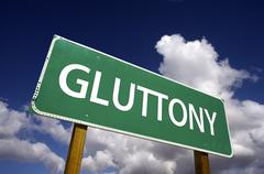 Gluttony Road Sign - 7 Deadly Sins Series Stock Photos