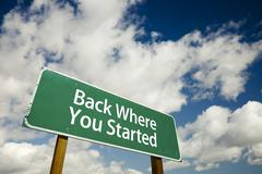Back Where You Started Road Sign with dramatic clouds and sky. - stock photo