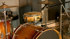 Acoustic Drums Set Up Stock Footage