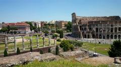 Palatino, Palatine hill, Collis Palatium, Mons Palatinus, view on Colosseum Stock Footage