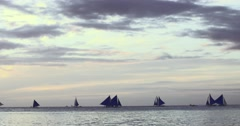 Tranquil morning water scape with many small beautiful sailboats moving - stock footage