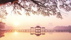 Beautiful sunrise on Kan Thar Yar lake in Hpa An Myanmar (Burma). Asia Landmark Stock Footage