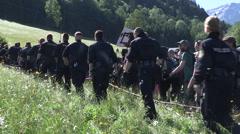 G7 Summit protest Sunday 7 2015 Alps Stock Footage