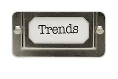 Trends File Drawer Label Isolated on a White Background. Stock Photos