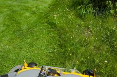 Stock Photo of Cutting the lawn