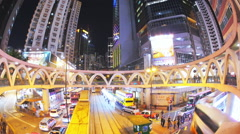 Night view of downtown in Hongkong with illuminated modern buildings - stock footage