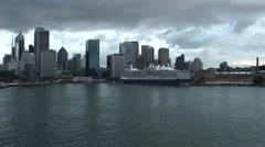 MS Queen Elizabeth Docked in Sydney Harbour Stock Footage